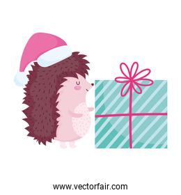merry christmas, cute hedgehog with hat and gift cartoon celebration icon isolation