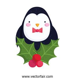 merry christmas, penguin with holly berry celebration icon isolation