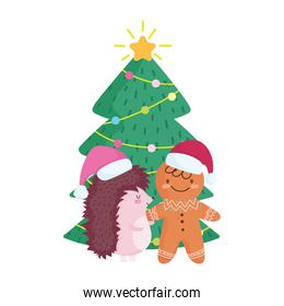 merry christmas, hedgehog and gingerbread man with tree celebration icon isolation