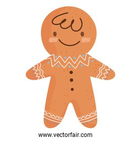 merry christmas, gingerbread man celebration icon isolation