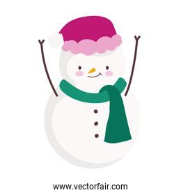 merry christmas snowman with hat decoration celebration icon design