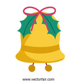 merry christmas bell with leaves decoration celebration icon design