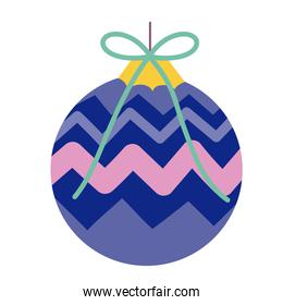 merry christmas purple ball decoration celebration icon design