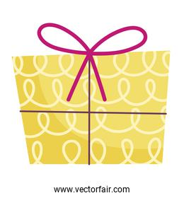 merry christmas yellow gift box decoration celebration icon design