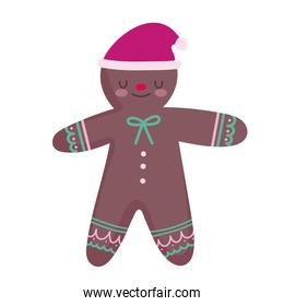 merry christmas gingerbread man with hat decoration celebration icon design