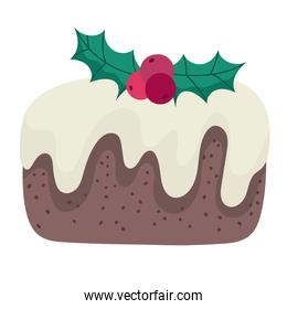 merry christmas cake with holly berry decoration celebration icon design