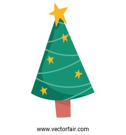 merry christmas tree with stars decoration celebration icon design