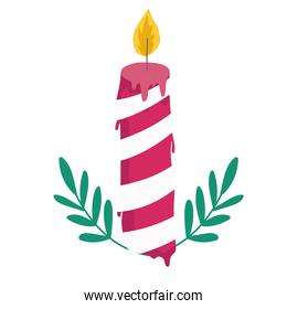 merry christmas candle with leaves decoration celebration icon design