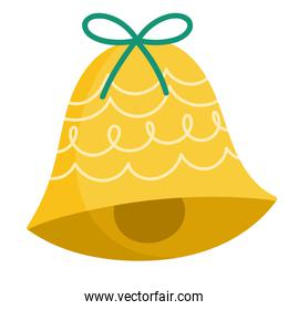 merry christmas golden bell with bow decoration celebration icon design
