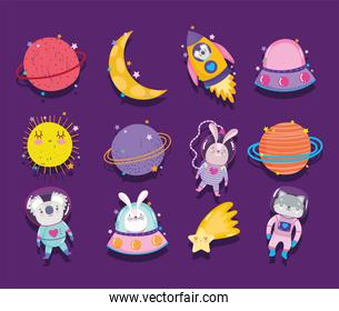 space adventure galaxy cartoon in style icons such as rocket animals star moon and sun