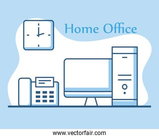 home office technology devices computer telephone and clock line style