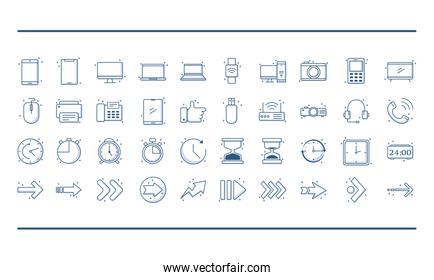 technology devices and arrows icons set include computer smartphone laptop line style