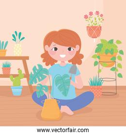 home gardening, girl with shovel and houseplants in pots