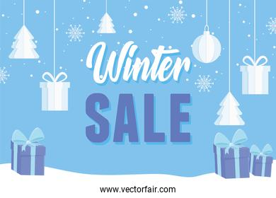 winter sale advertising banner with gift balls and tree decoration