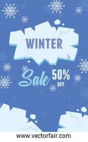 winter sale advertising banner with explosion pieces of ice
