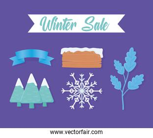 winter sale set icons of tree wooden board snowflakes and tree