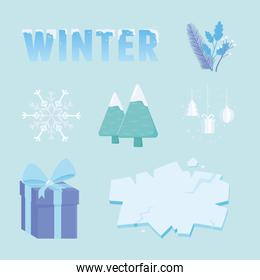 winter sale icon collection, lettering tree gift and ice
