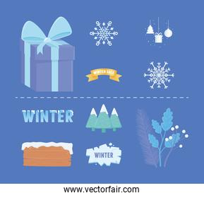 winter sale icons gift snowflakes wooden board ice ribbon