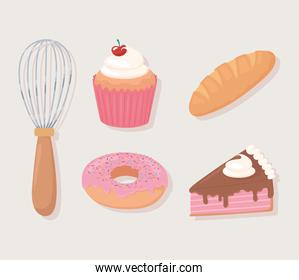 bakery icons cupcake bread cake donut and rolling pin