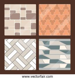 set of seamless pavement texture tiles and brick architecture