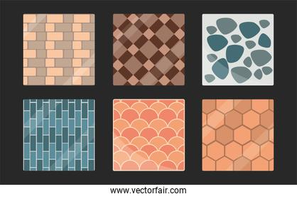 set of paving tiles bricks geometric minimalist seamless patterns