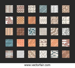 set of seamless pavement texture repeating patterns of tiles