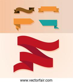 collection of ribbons ornament different shapes icon