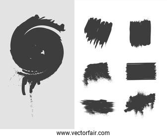 scribble stains hand drawn ink brush strokes icons