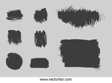 scribble stains, set of strokes, grunge and brushes style