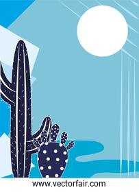 cactus plant succulent sun cartoon blue background design