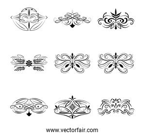 dividers decoration classic floral and ornamnetal icons set
