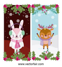 merry christmas, cute reindeer and rabbit with scarf lights and holly berry greeting cards