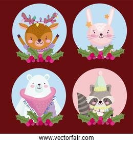 merry christmas, reindeer rabbit bear and raccoon holly berry round icons