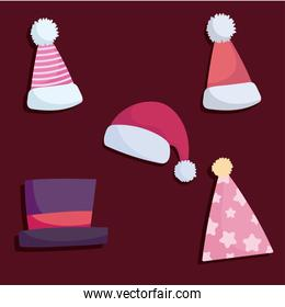 merry christmas, icons set santa hats and winter accessory