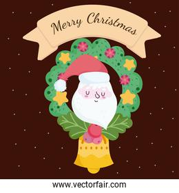 merry christmas, santa face wreath with balls and bell card