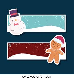 merry christmas, set banner with snowman and gingerbread man