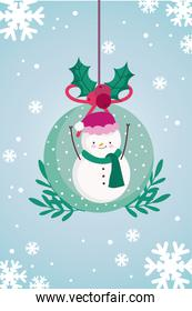merry christmas snowball with snowman and snowflakes decoration