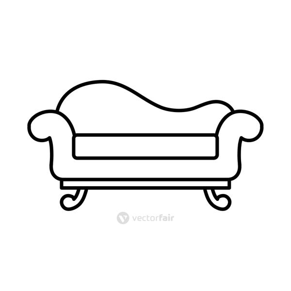 furniture concept, couch icon, line style