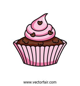 pink cupcake with chocolate heart chips, colorful design