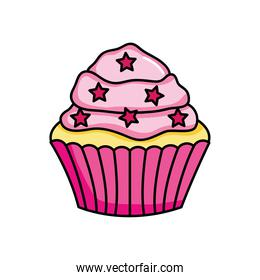 pink cupcake with stars chips, colorful design