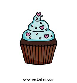 sweet cupcake with hearts chips, colorful design