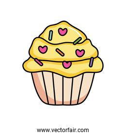 yellow cupcake with candy chips, colorful design