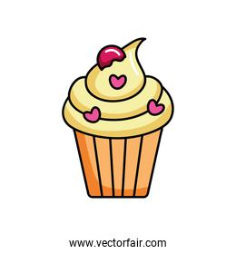 cupcake with pink hearts chips, colorful design