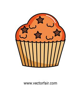 orange cupcake with stars chips, colorful design