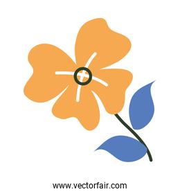 icon of flower and leaves, half line half color style