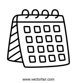 stationary concept, calendar planner icon, line doodle style