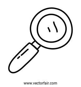 stationary concept, magnifying glass icon, line doodle style