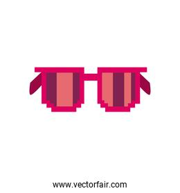 glasses with pixel frame, flat style on white background
