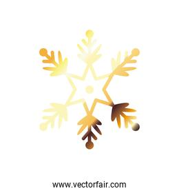 snowflake, christmas and winter concept, golden degraded style icon