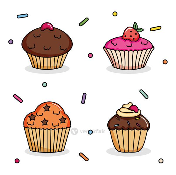 sweet cupcakes icon set, colorful design